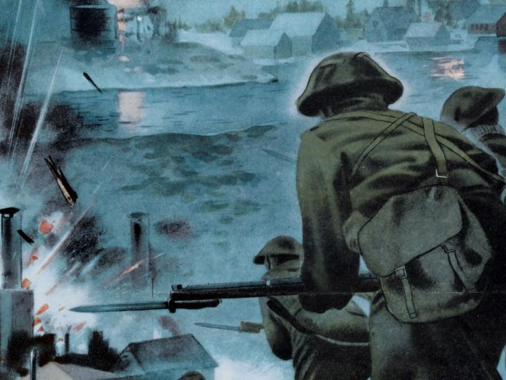 Propaganda poster depicting a commando raid on a German-held port in Norway, 1940