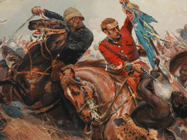 Lieutenants Melville and Coghill saving the Colours at Isandlwana, 1879