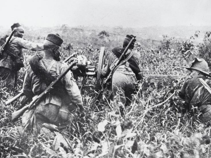 The Nigerian Regiment Artillery with a field gun,
