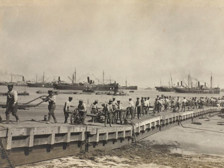 Landing troops from transports at Lao Shan Bay, September 1914