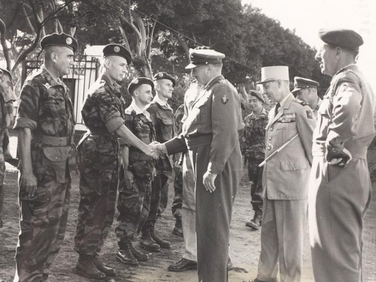 General Sir Charles Keightly, Commander in Chief Operation Muskateer, meets French paratroopers at Suez, 1956