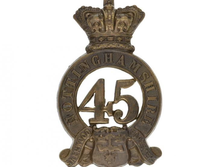 Glengarry badge, 45th (Nottinghamshire) (Sherwood Foresters) Regiment of Foot, 1874