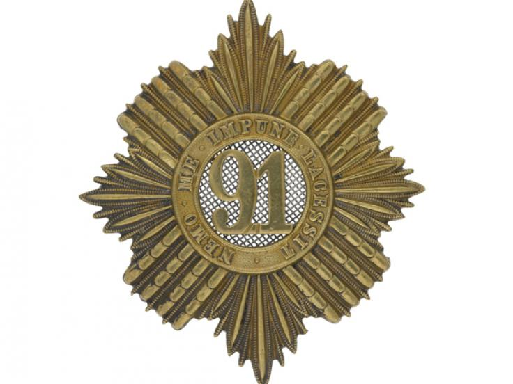 Glengarry badge, 91st (Princess Louise's Argyllshire Highlanders) Regiment, c1874