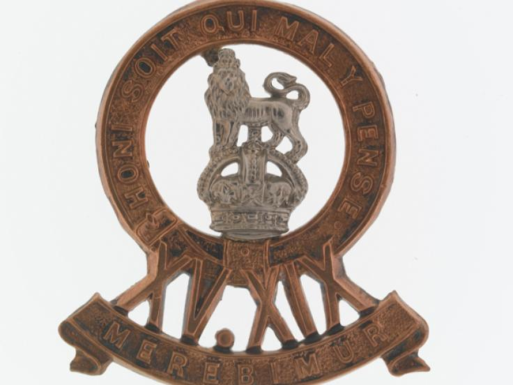 Cap badge, 15th/19th Hussars, c1922