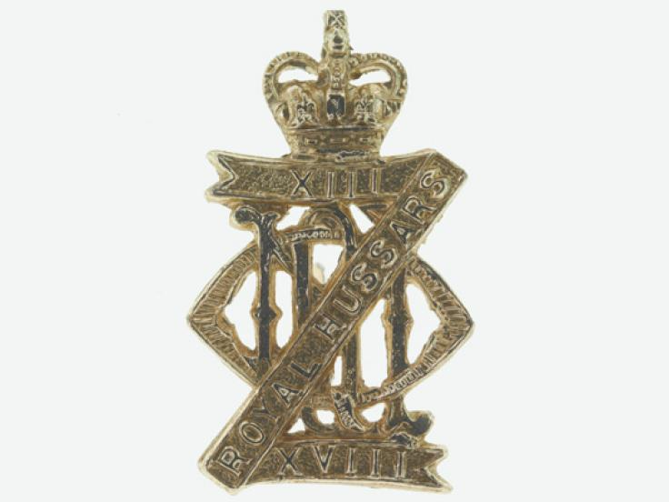 Collar badge, 13th/18th Royal Hussars (Queen Mary's Own), c1962