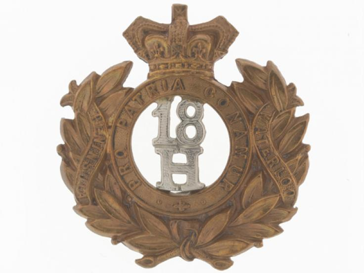 Cap badge, other ranks, 18th Hussars, c1900