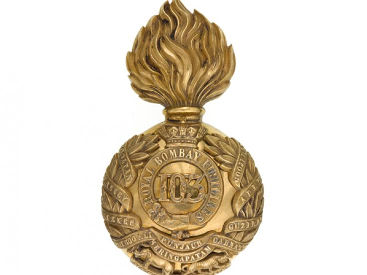 Bearskin badge, 103rd Regiment of Foot (Royal Bombay Fusiliers), c1869
