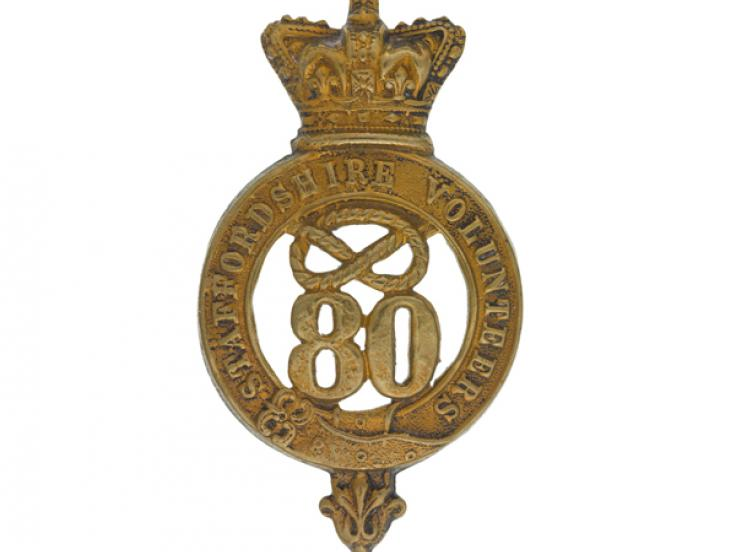 Glengarry badge, 80th Regiment of Foot (Staffordshire Volunteers), c1874