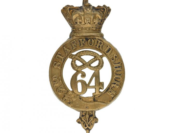 Glengarry badge, 64th (2nd Staffordshire) Regiment, c1874