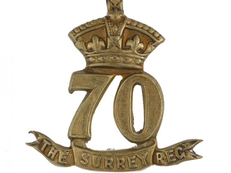 Other ranks' glengarry badge, 70th (Surrey) Regiment of Foot, c1874