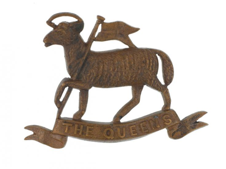 Cap badge, The Queen's (Royal West Surrey) Regiment, c1912