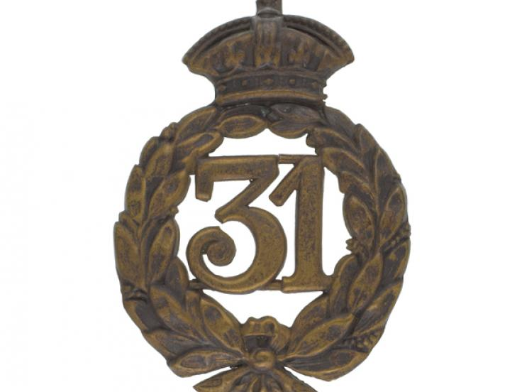 Glengarry badge, 31st (Huntingdonshire)Regiment, c1877