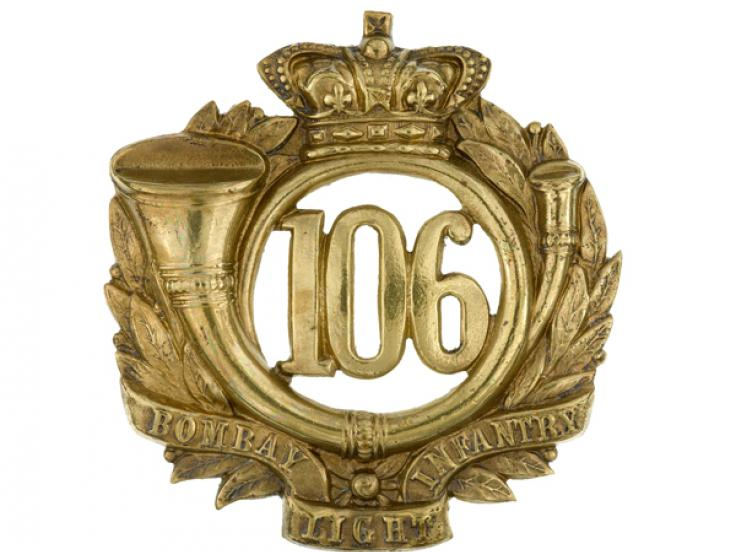 Glengarry badge, 106th Regiment of Foot (Bombay Light Infantry), c1874