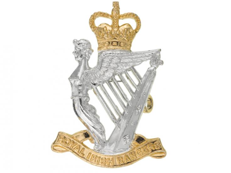 Cap badge, other ranks, The Royal Irish Rangers, c1970