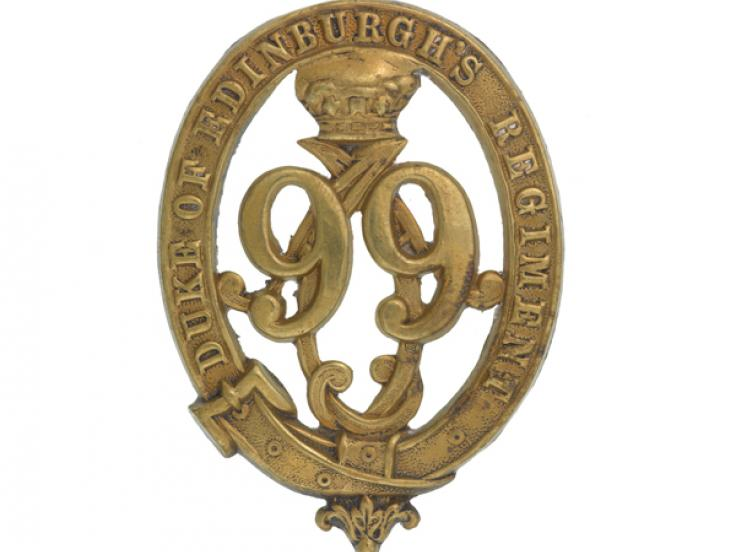 Glengarry badge, other ranks, 99th (Duke of Edinburgh's) Regiment of Foot, c1875