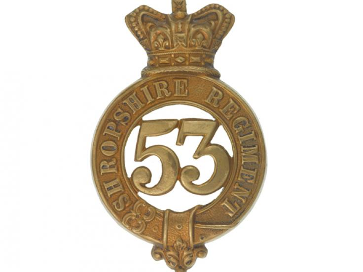 Glengarry badge, other ranks, 53rd (Shropshire) Regiment, c1874