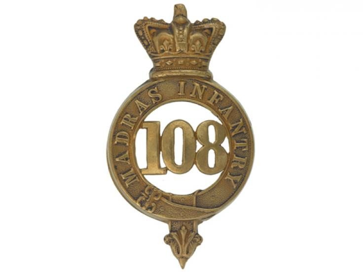 Glengarry badge, 108th Regiment of Foot (Madras Infantry), c1874