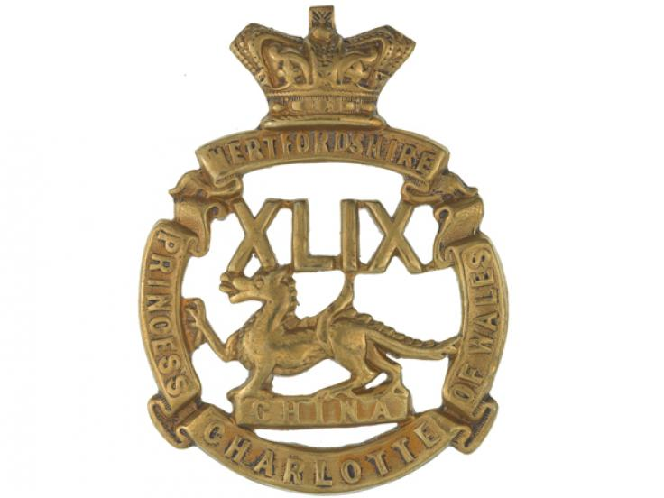 Glengarry badge, 49th (Princess Charlotte of Wales's) (or Hertfordshire) Regiment, c1874