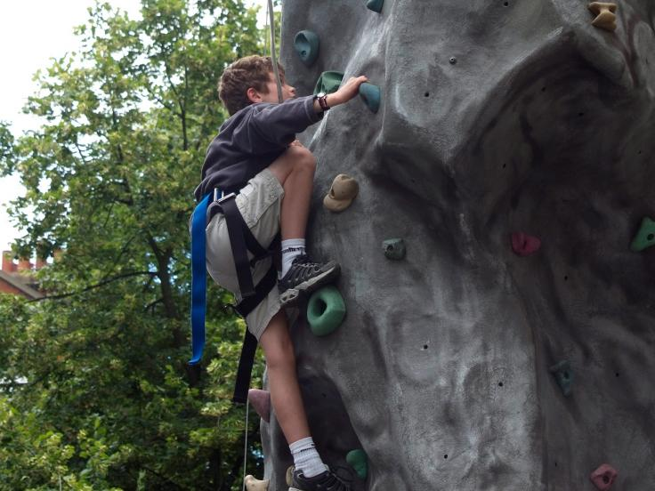 Fighting fit: Climbing wall