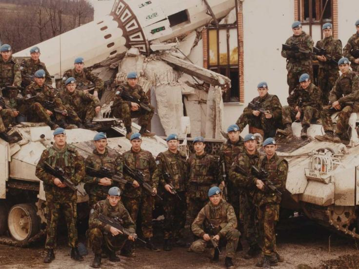 British UNPROFOR troops outside a destroyed mosque near Vitez, Bosnia, 1994