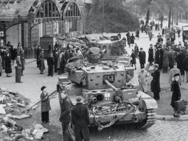 Civilians gathered around British tanks, Hamburg, May 1945