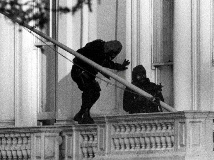 SAS troops storming the Iranian Embassy, 1980