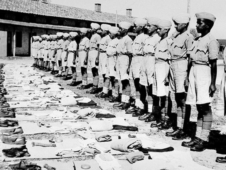 Recruits of 17th Dogra Regiment await kit inspection, Jullunder, India, c1944