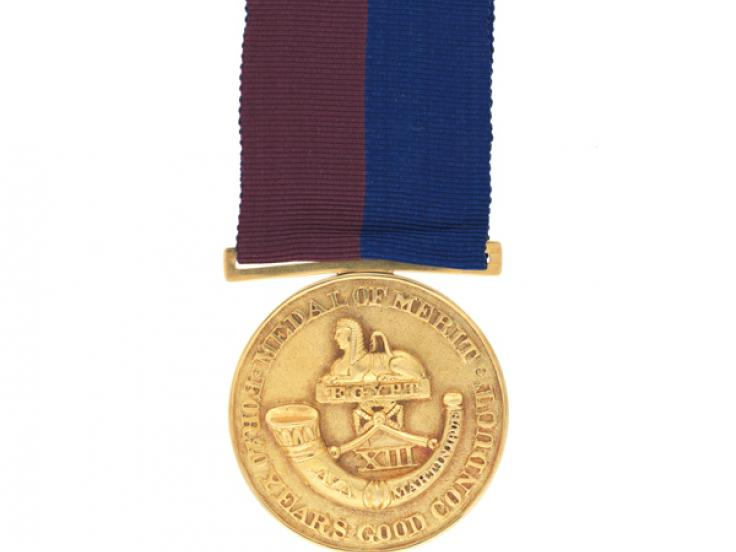 Gold 20 years' good conduct medal, 13th Regiment of Foot, c1825