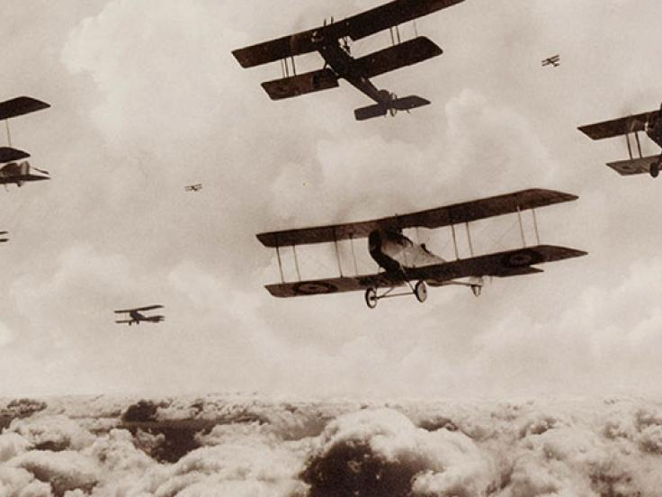 A flight of bombing planes, 1st Australian Flying Corps, Palestine, 1914-18