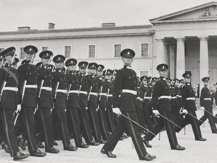 Passing out parade at the Royal Military Academy Sandhurst, c1955
