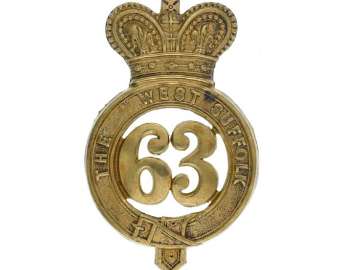Other ranks' glengarry badge, 63rd (West Suffolk) Regiment, c1874