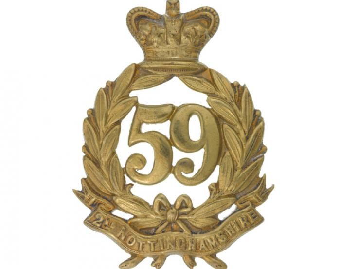 Glengarry badge, other ranks, 59th (2nd Nottinghamshire) Regiment of Foot, c1874
