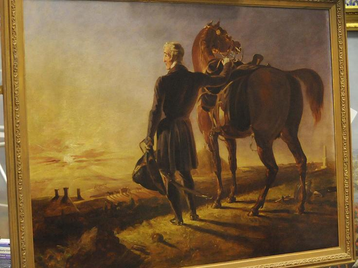 Oil painting of the Duke of Wellington as an old man surveying the battlefield of Waterloo