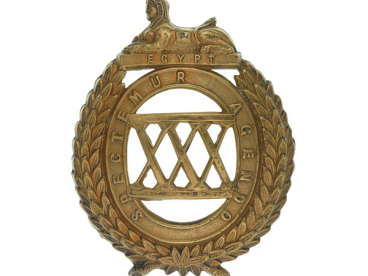 Glengarry badge, 30th (Cambridgeshire) Regiment of Foot, c1874