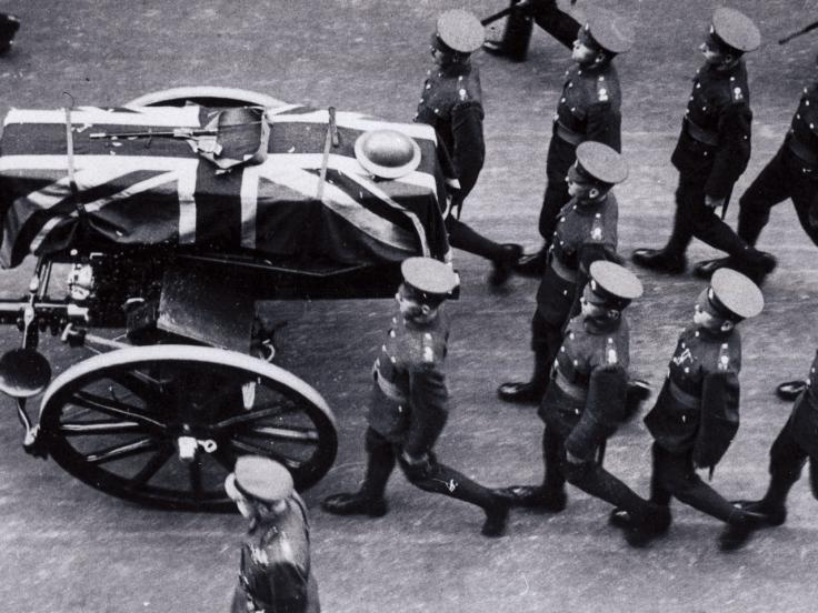 Procession bringing the Unknown Warrior to be laid to rest in Westminster Abbey, 1920