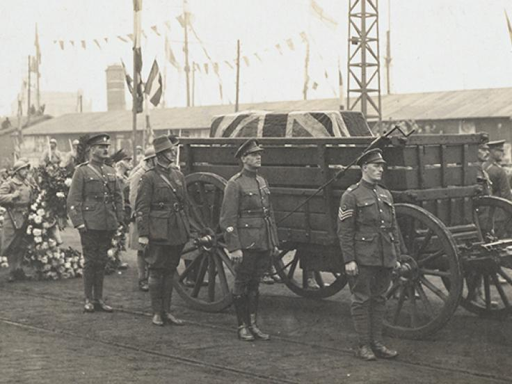 The Unknown Warrior prior to embarkation at Boulogne, 1920