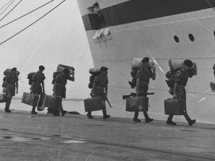 Boarding the troopship 'Nevasa' en route to Malaya, 1957