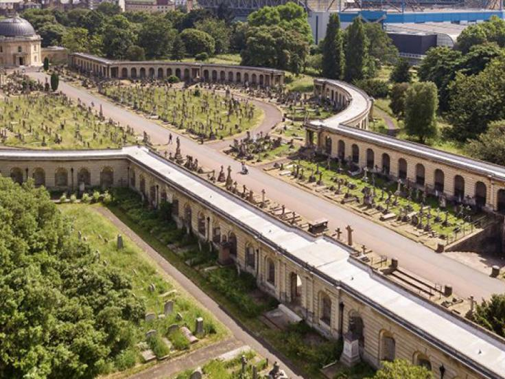 Aerial view of Brompton Cemetery