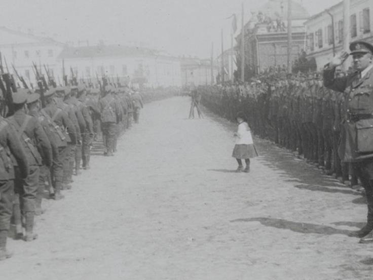 General William Ironside taking the salute during a parade in Archangel, 1919