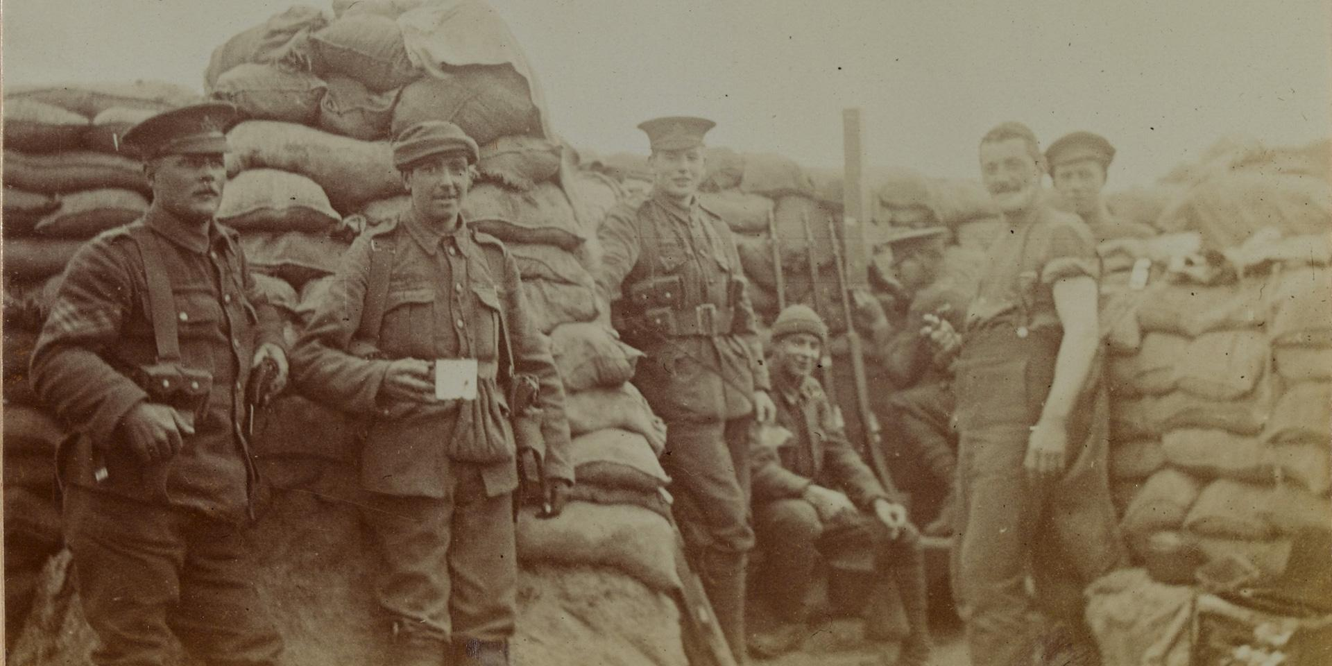 The South Staffordshire Regiment in the trenches at Wolverghem, Belgium, c1915