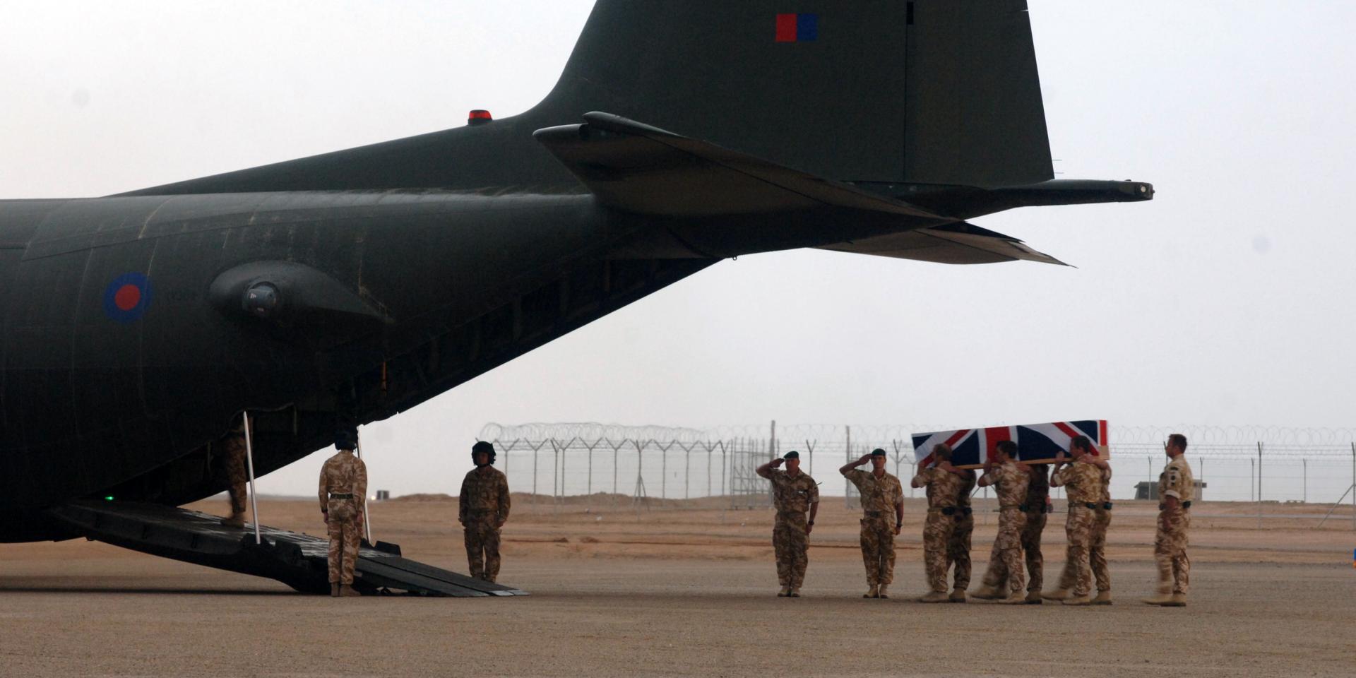 Repatriation service for Lt John Thornton and Marine Dave Marsh, Camp Bastion, Afghanistan, 3 April 2008