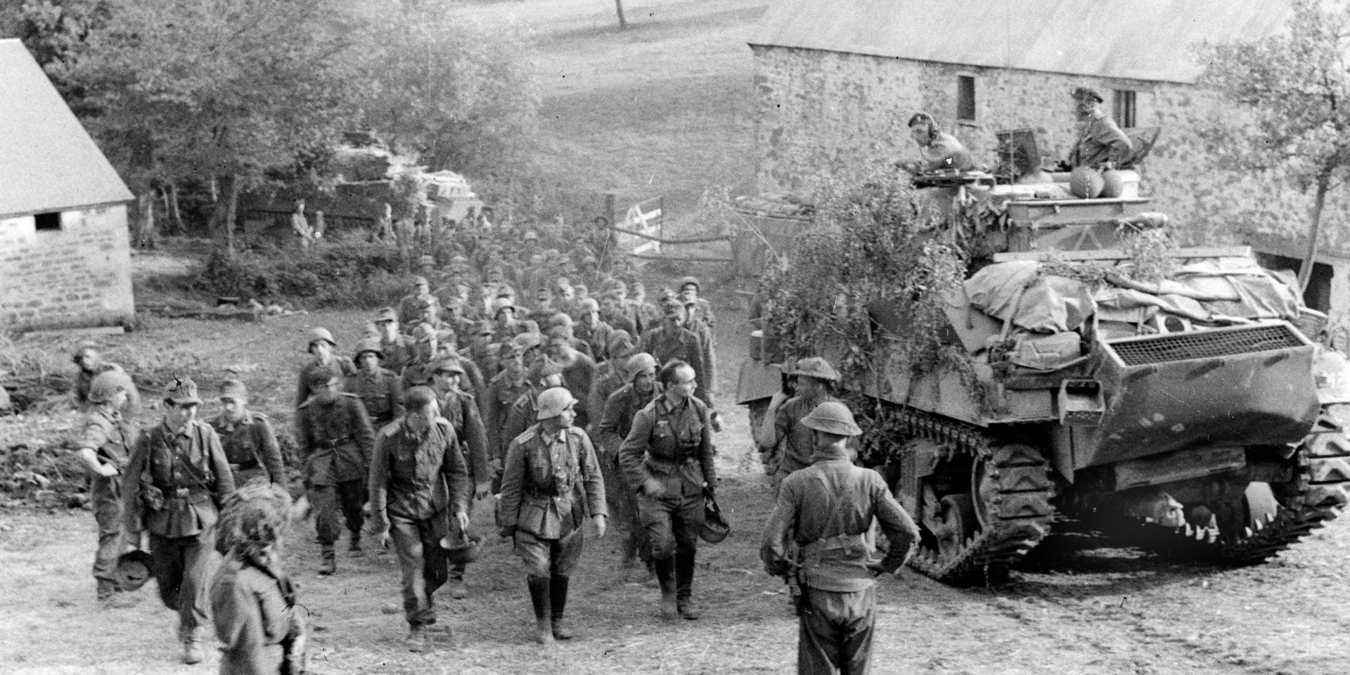 Captured German prisoners near Falaise, 1944