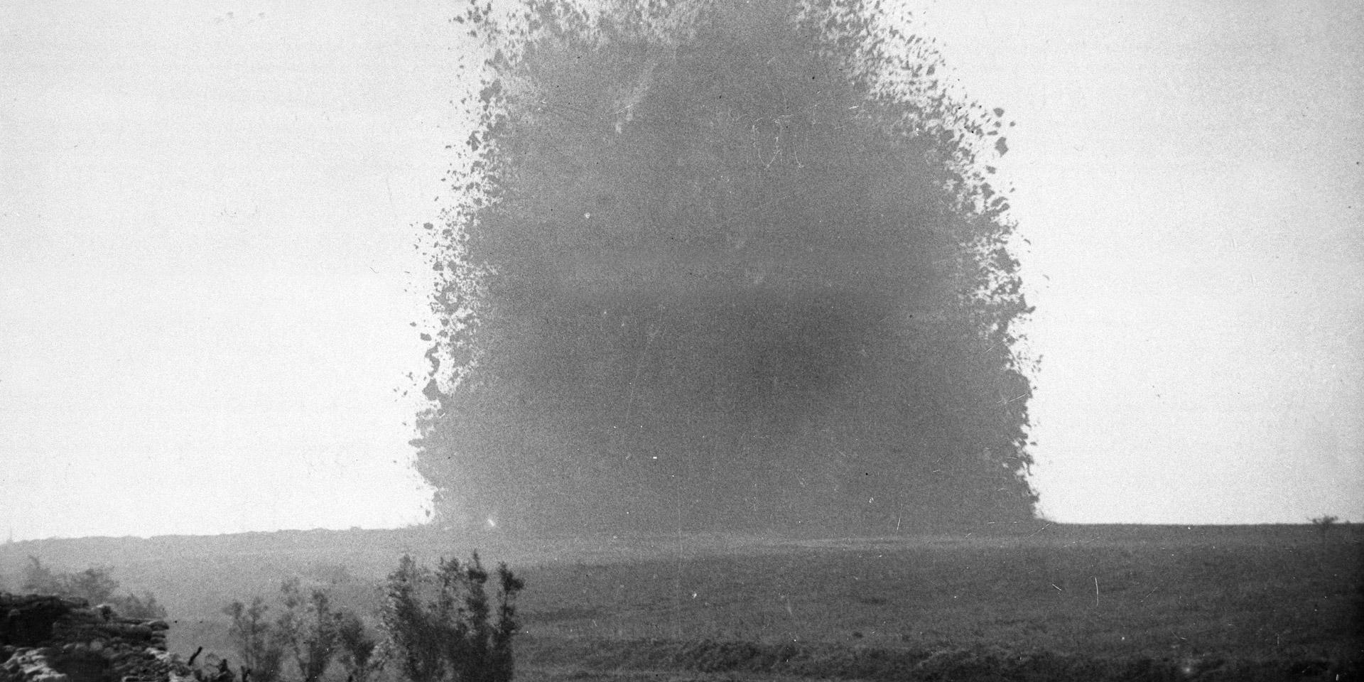 Mine detonating at Hawthorne Ridge during the Battle of the Somme, 1916