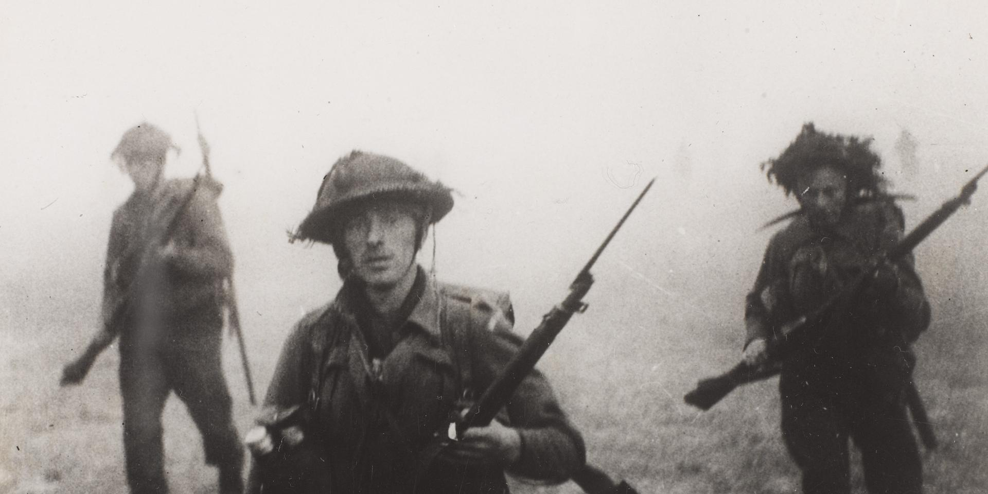 British troops advancing near Tilly, 1944