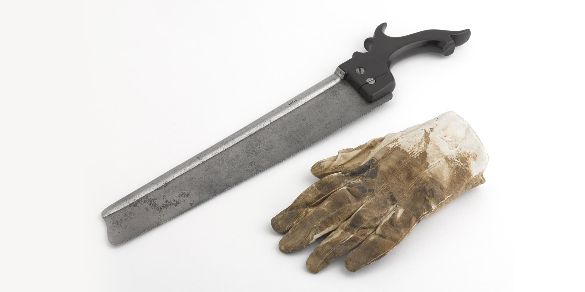 Surgical saw and blood-stained glove used to amputate  the leg of Lord Uxbridge.