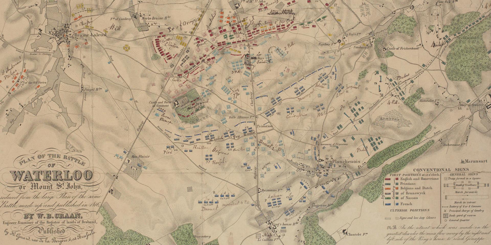 Plan of the Battle of Waterloo, 1816