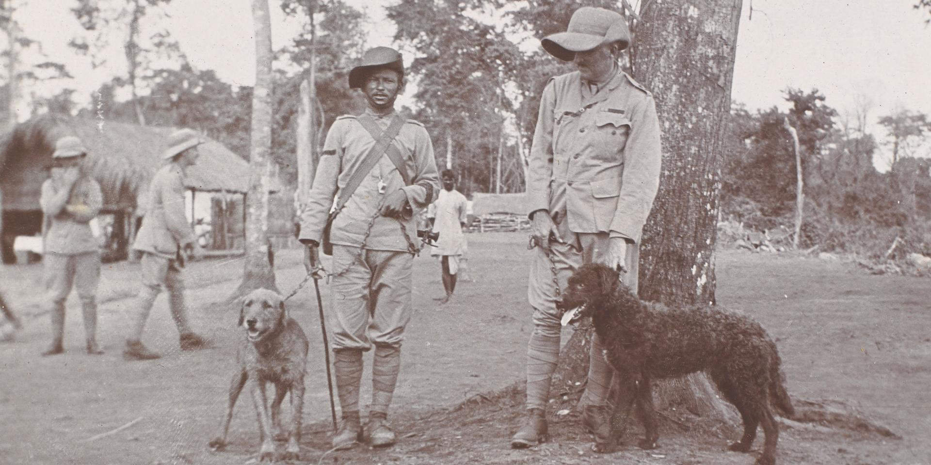 Bab and Jumbo with members of the 1st/8th Gurkha Rifles