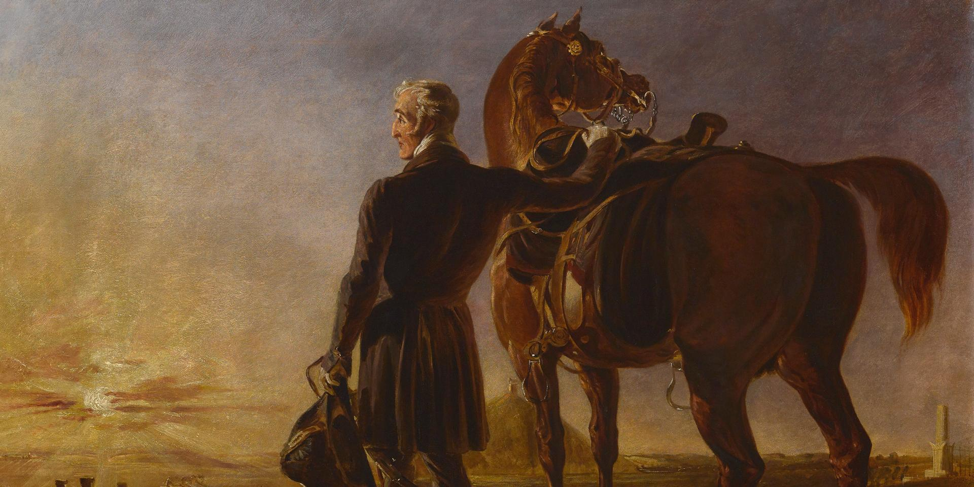 The Duke of Wellington as an old man surveying the battlefield of Waterloo with Copenhagen, painted in 1840