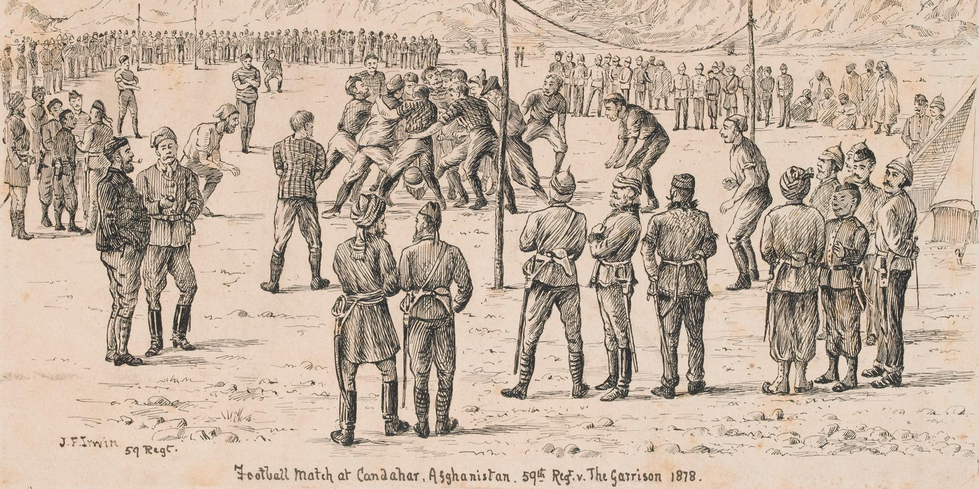 Sketch of 'first game of football ever played in Afghanistan' by Major John Irwin, 1878