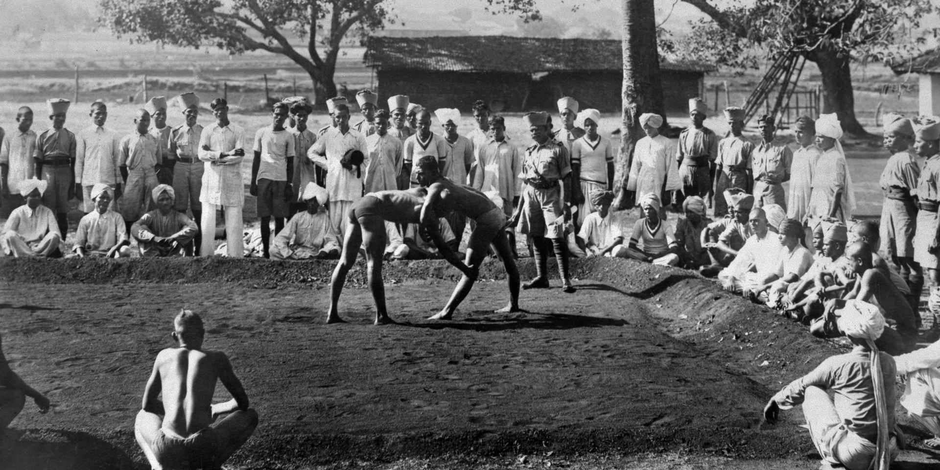 Recruits to the 5th Mahratta Light Infantry wrestling at the Belgaum depot, 1937